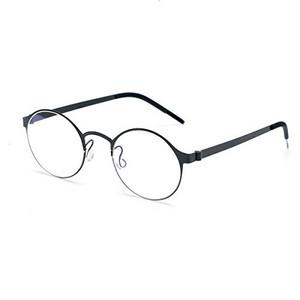 b29cbe5f9f SO SMOOTH WIND B-Titanium Light Eyeglasses Frame Round Screwless Glasses  Prescription Eyewear Frame R1104(Black