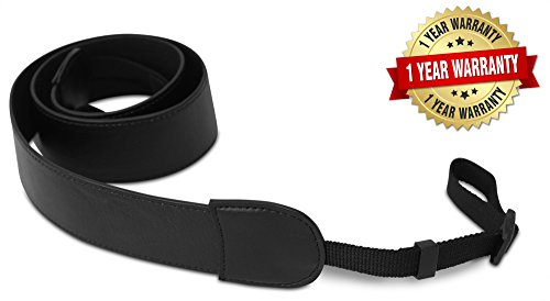 ROMS Black Leather Camera Strap Belt - Shoulder & Neck For Canon, Nikon, Pentax, Olympus, Sigma, Sony, Fujifilm, Casio, Panasonic & DSLR Cameras-Comfortable Fitted Adjustable Camera Sling - 해외직구는 플라이굿! 빠르고 저렴한 해외쇼핑 모바일 - 웹