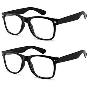 254f67a4d27d3 OWL - Non Prescription Glasses Clear Lens Black Frame - UV Protection (2  Pack)